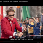 Casey Neistat on a red carpet getting towed while riding a longboard.